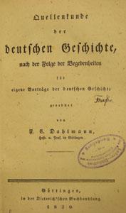 Friedrich Christoph Dahlmann: Quellenkunde der deutschen Geschichte
